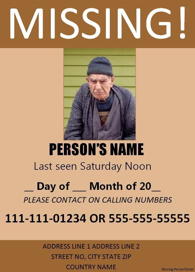 Missing Person Flyer Template Lovely 11 Missing Person Poster Templates