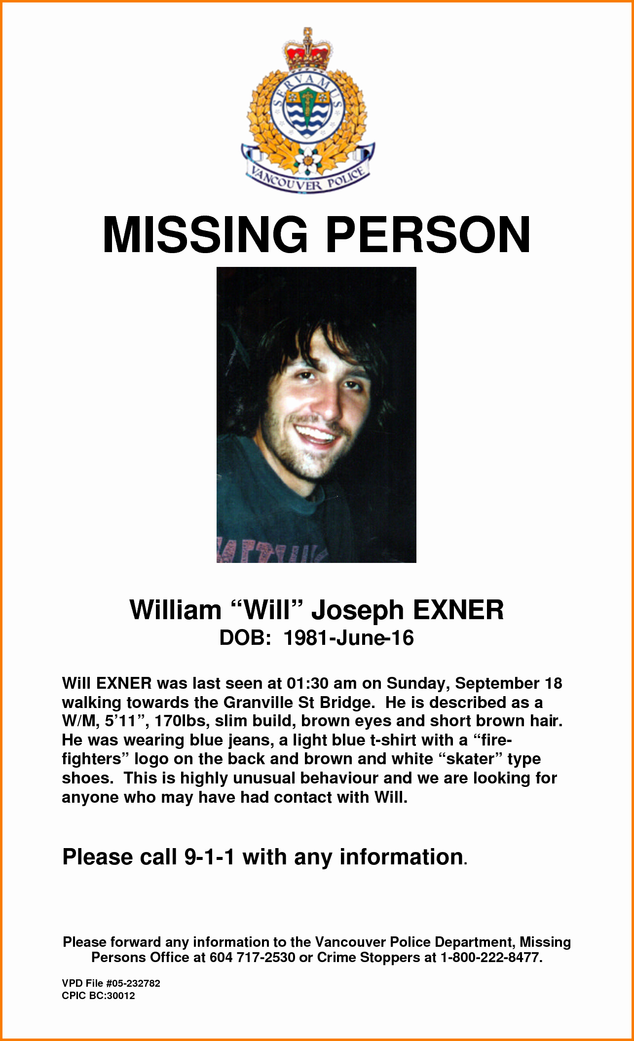 Missing Person Flyer Template Lovely Missing Person Poster Template
