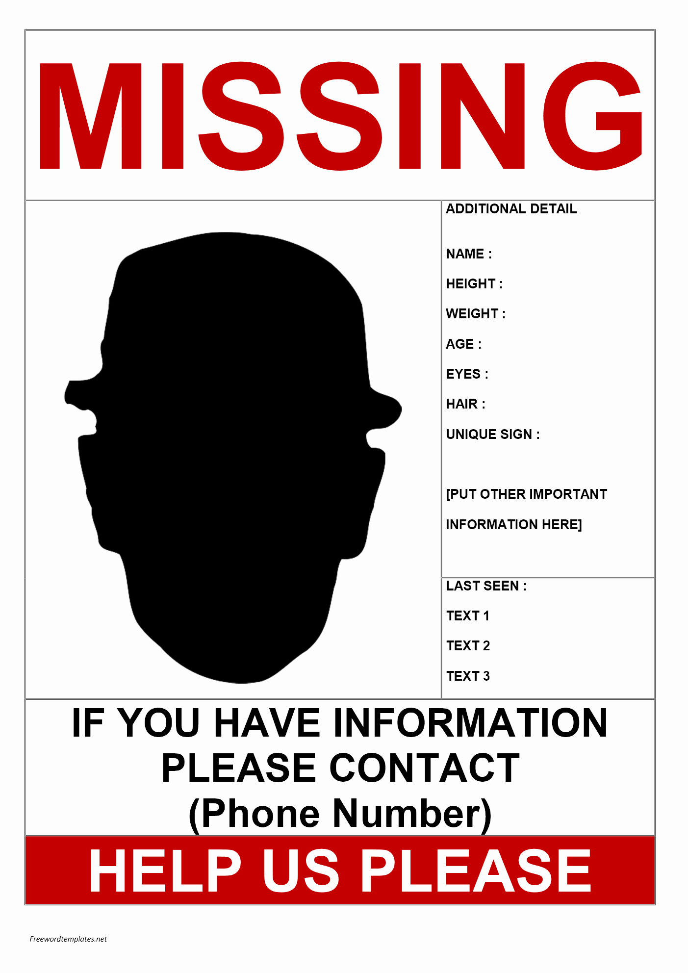 Missing Person Flyer Template New Missing Person Poster Template