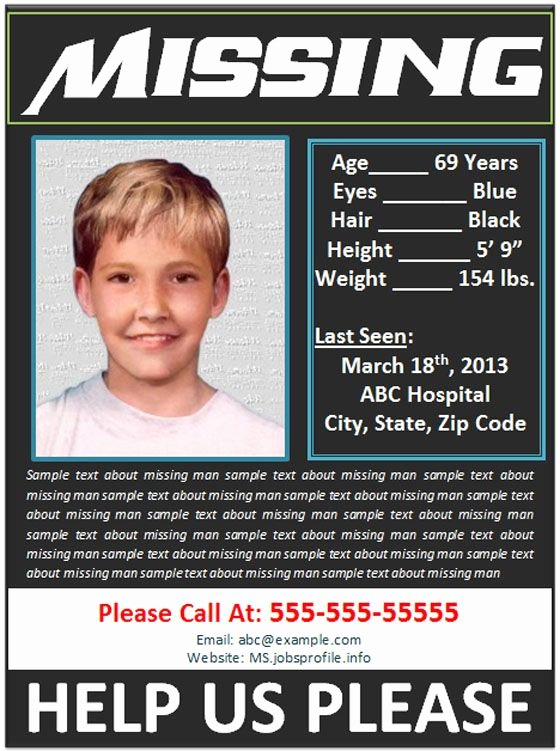 Missing Person Poster Template Best Of Missing Person Poster