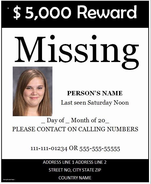 Missing Person Poster Template Best Of Missing Poster Template