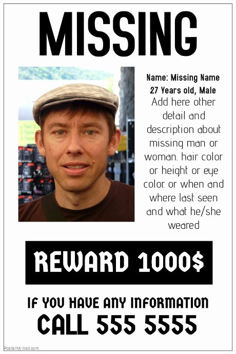Missing Person Poster Template New Missing Poster Template