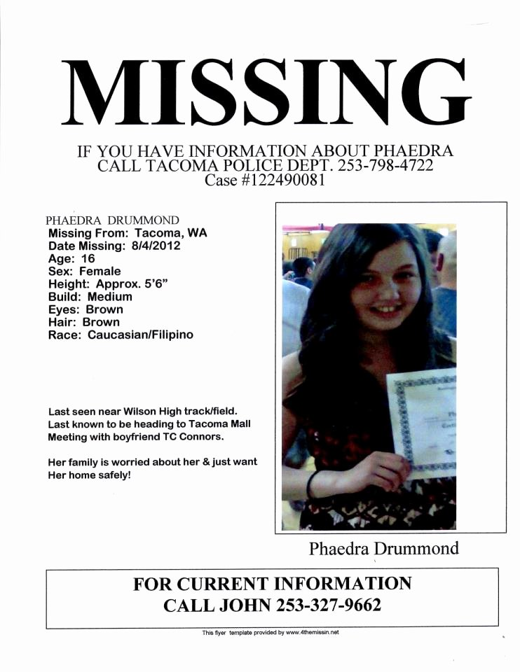 Missing Person Poster Template Unique Missing Person