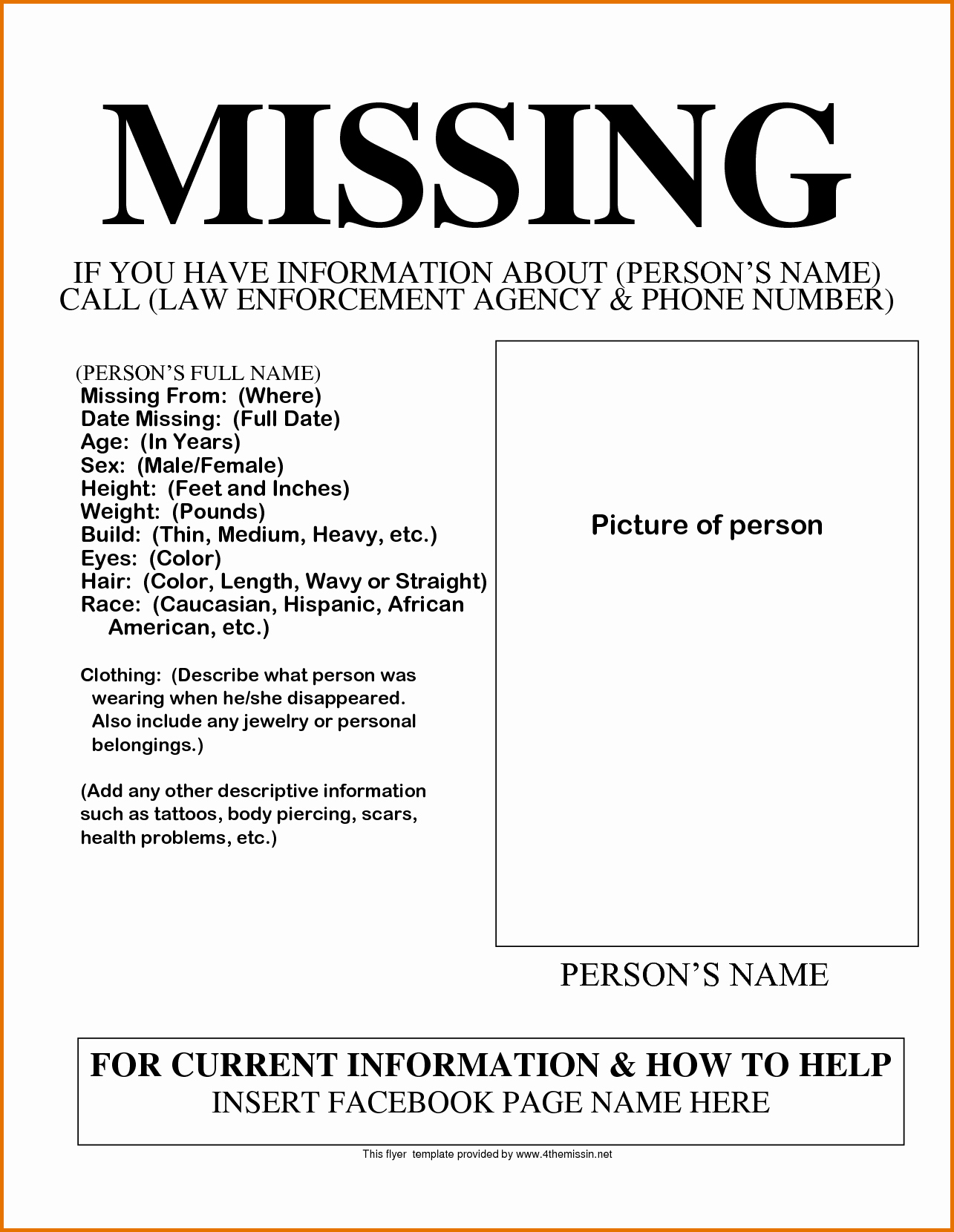 Missing Persons Flyer Template Best Of Missing Person Poster Templatereference Letters Words