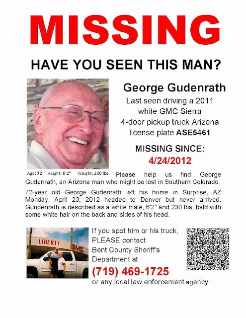 Missing Persons Flyer Template Fresh George Gudenrath Missing Person Arizona
