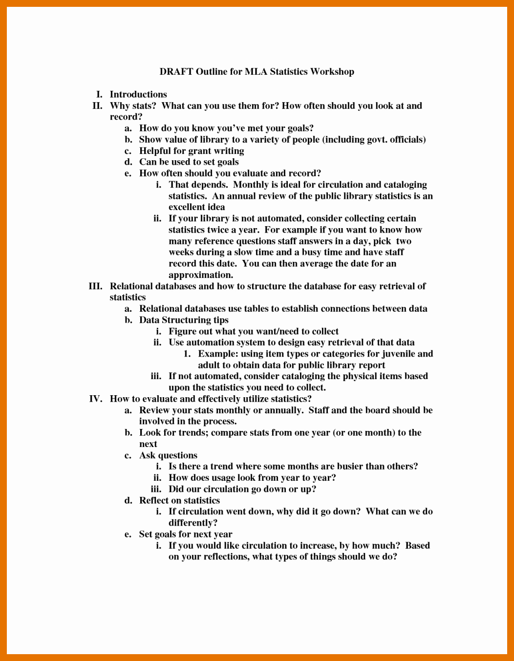 Mla format Outline Template Awesome 6 7 Mla Outline format