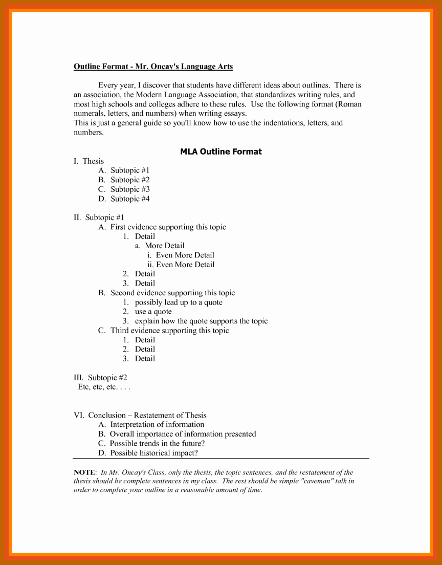 Mla format Outline Template Awesome 7 8 Outline In Mla format