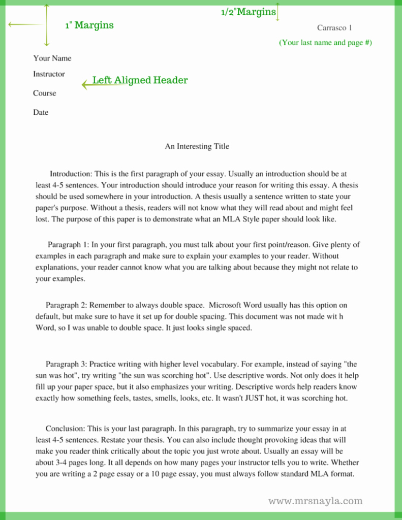 Mla format Paper Template Fresh the Basics Of Mla Style