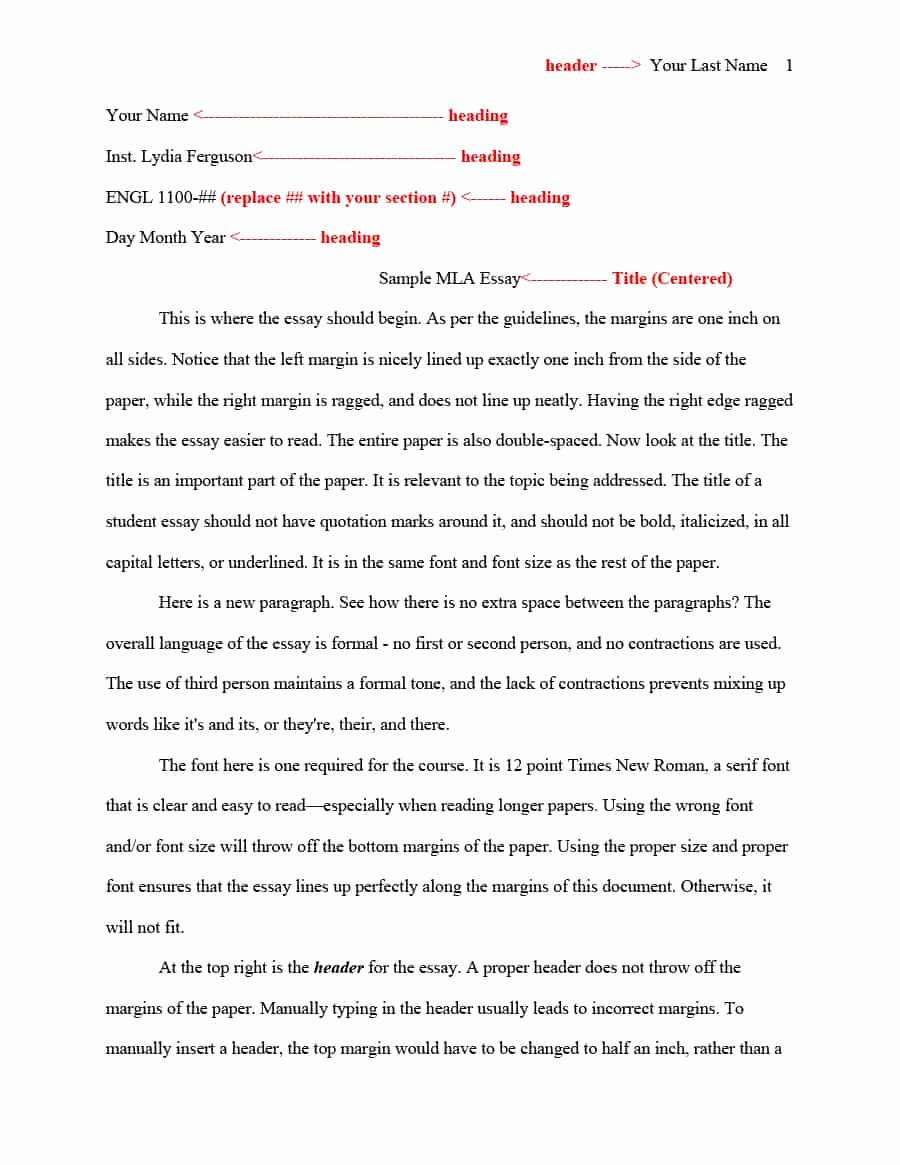 Mla format Template Download Awesome 38 Free Mla format Templates Mla Essay format