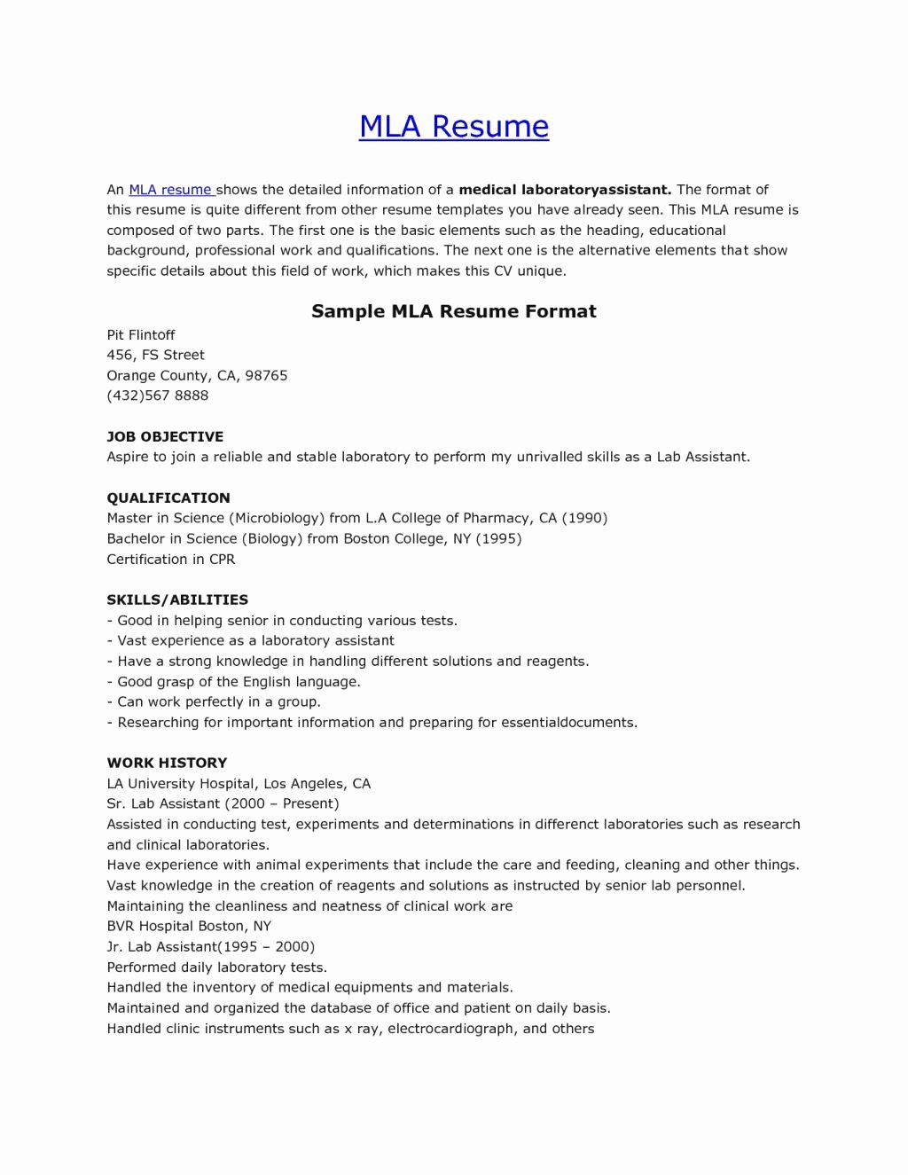 Mla format Template Download Best Of Mla Resume format Pelosleclaire