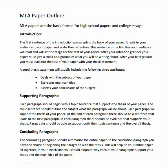 Mla format Template Download New Mla Outline Template 11 Download Free Documents In Pdf