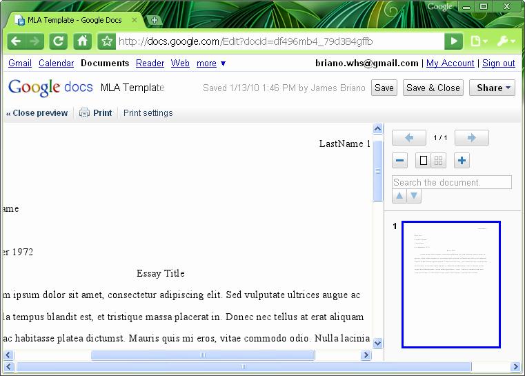 Mla Template Google Docs Unique Mla format Mla Template In Word 2007