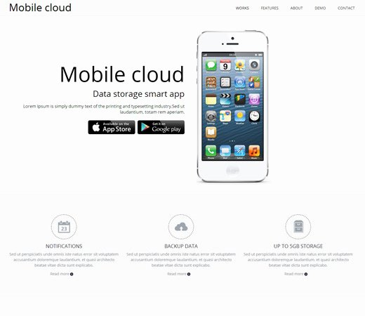 Mobile Apps Website Template Beautiful Mobile Cloud A App Based Mobile Website Template by W3layouts