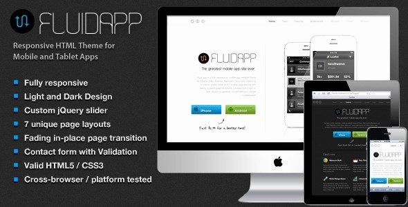 Mobile Apps Website Template Lovely Fluidapp Responsive Mobile App Website Template by