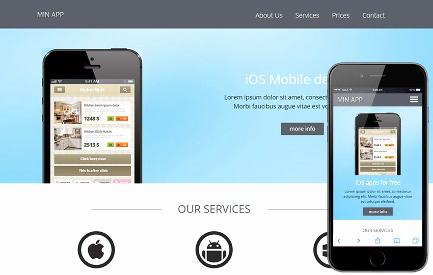 Mobile Apps Website Template New Min App A Mobile App Based Flat Bootstrap Responsive Web
