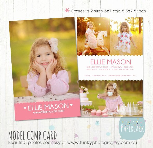 Model Comp Card Template Beautiful Model P Card Shop Template Am001 Instant
