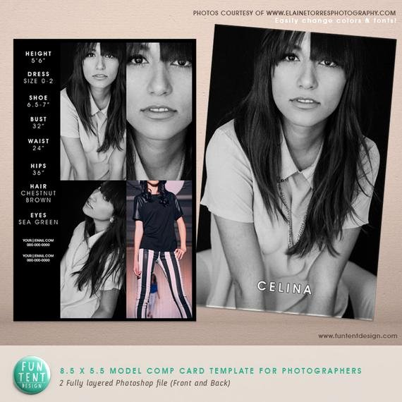 Model Comp Card Template Elegant Model P Card 8 5x5 5 Fashion Profile Template by