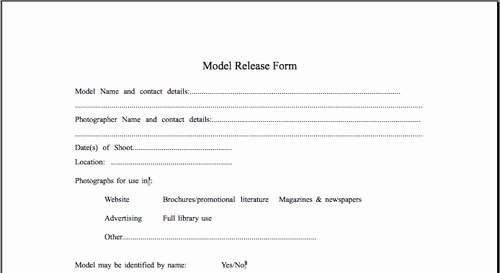 Model Release form Template Awesome Model Release form Template