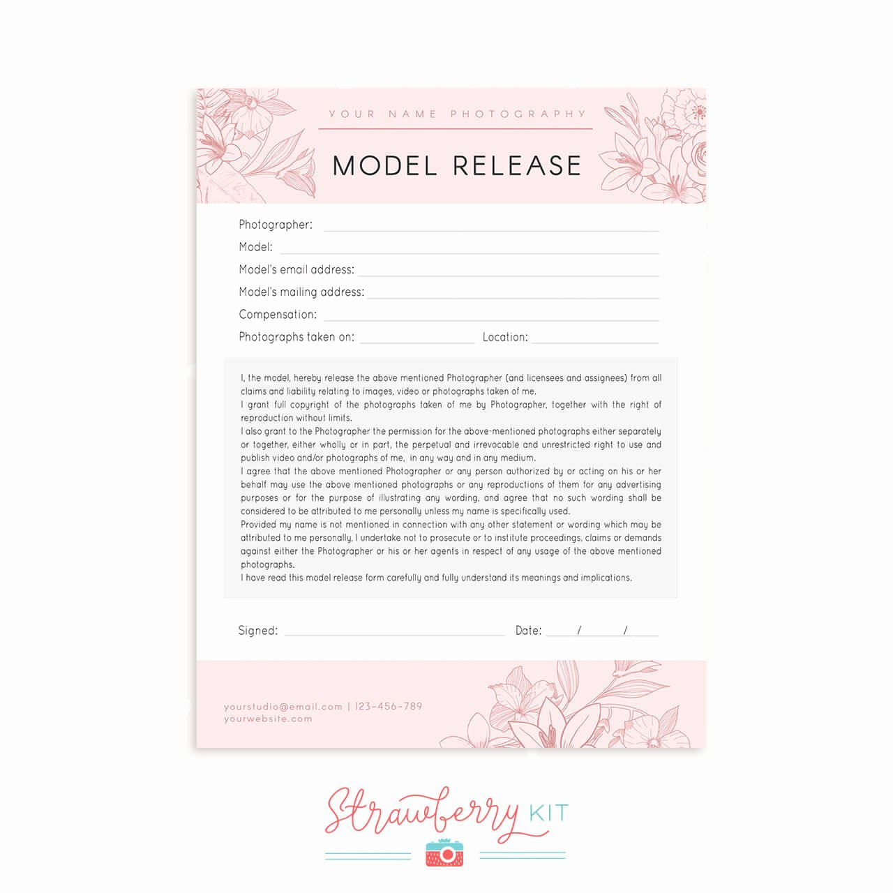 Model Release form Template Best Of Model Release form Floral Strawberry Kit