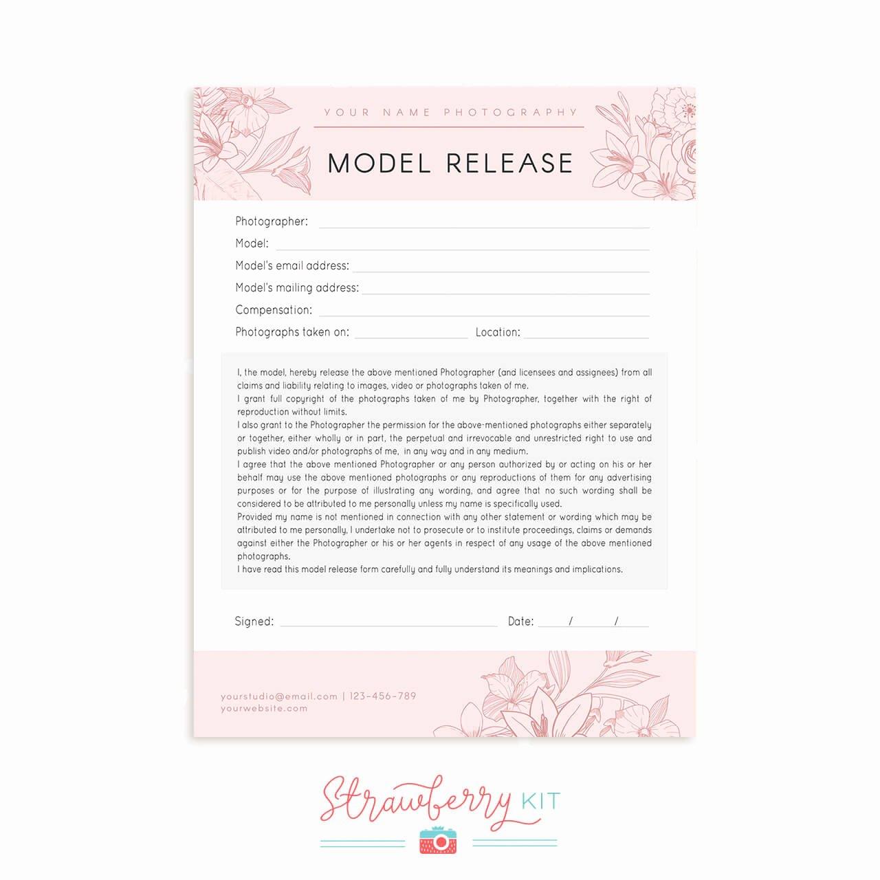 Model Release form Template Best Of Model Release form Floral Strawberry Kit