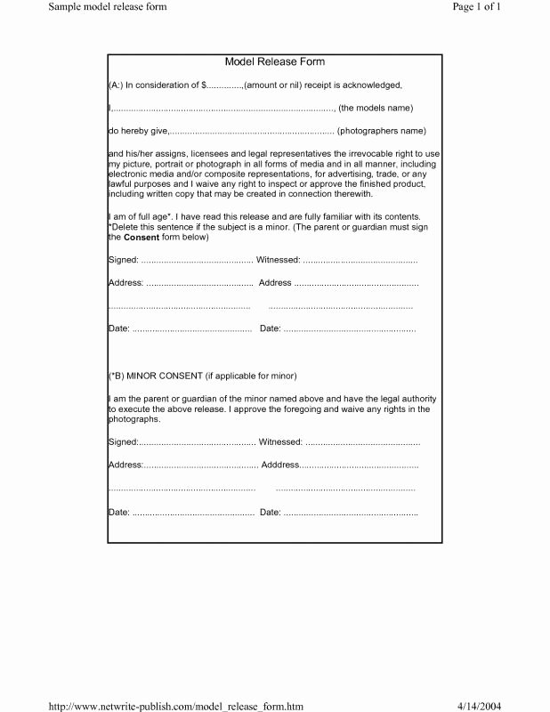 Model Release form Template Best Of Model Release form Template