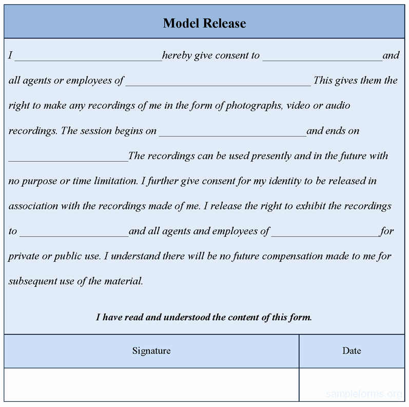Model Release form Template Lovely Model Release form Template Sample forms