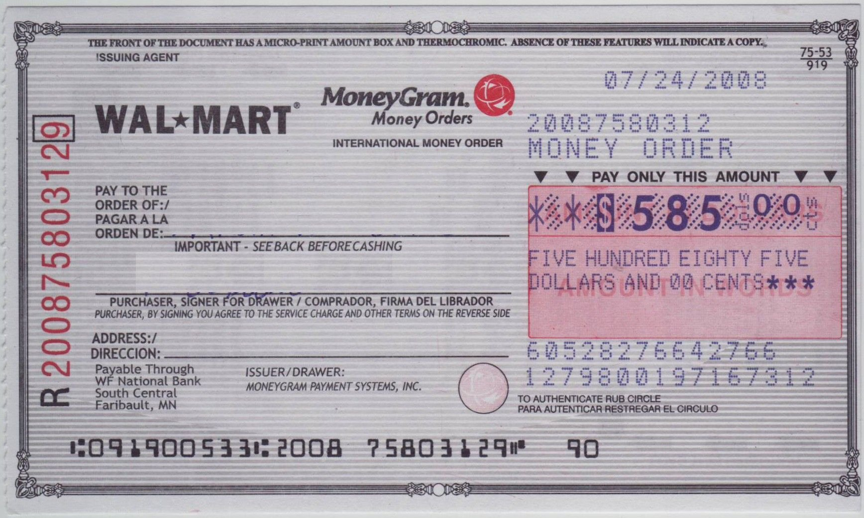 Money order Receipt Template Unique Blank Check Sample