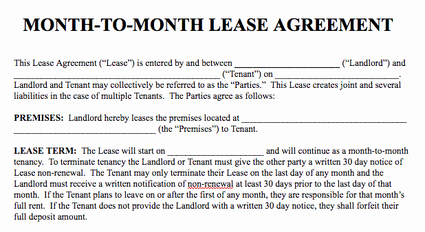 Month Rental Agreement Template Beautiful Basic Rental Agreement In A Word Document for Free