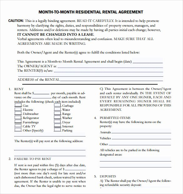 Month Rental Agreement Template Elegant 7 Apartment Rental Agreement Templates