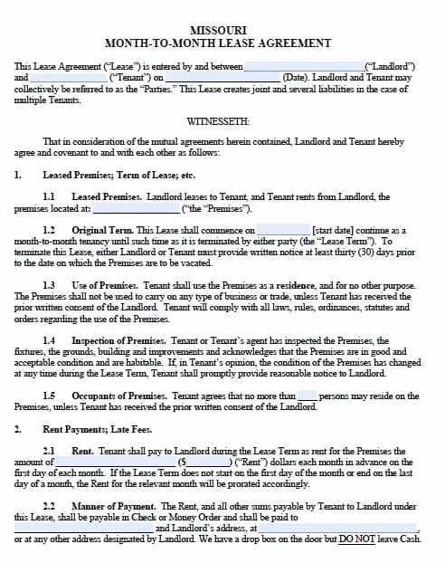 Month Rental Agreement Template Elegant Free Missouri Monthly Rental Agreement – Templates In Pdf