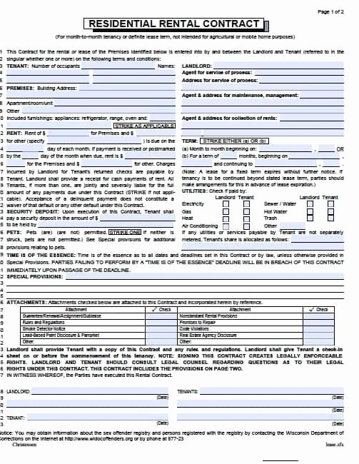 Month Rental Agreement Template Elegant Free Wisconsin Month to Month Lease Agreement – Pdf Template