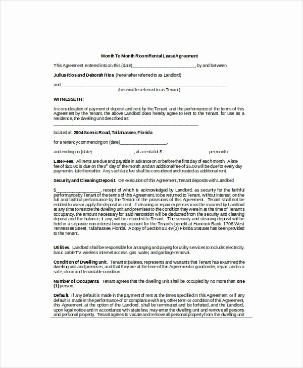 Month Rental Agreement Template Elegant Month to Month Lease Template 4 Free Word Pdf Google