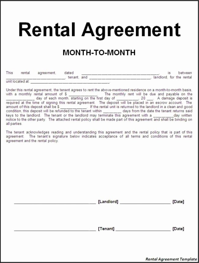 Month Rental Agreement Template Fresh Efficient Sample Of Month to Month Rental Agreement