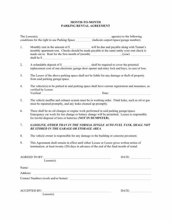 Month Rental Agreement Template Fresh Month to Month Parking Rental Agreement Template In Word