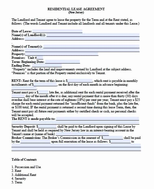Month Rental Agreement Template Lovely Free New Jersey Month to Month Lease Agreement – Pdf Template