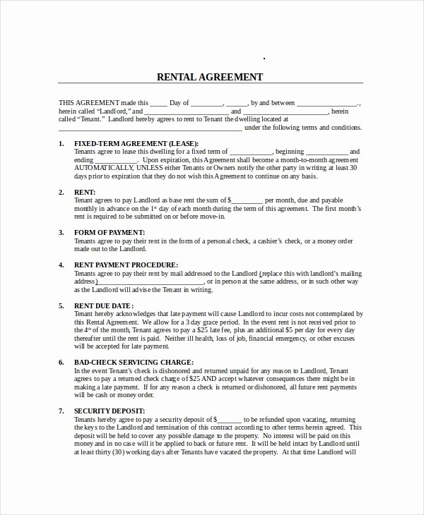Month Rental Agreement Template Luxury Month to Month Lease Agreement 8 Free Pdf Word Google