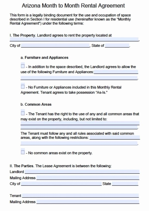 Month Rental Agreement Template New Free Arizona Month to Month Rental Agreement Pdf