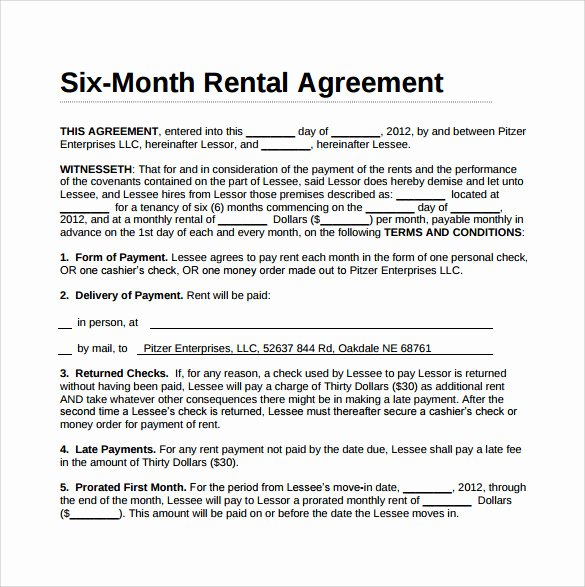 Month Rental Agreement Template New Simple Rental Agreement 11 Download Free Documents In