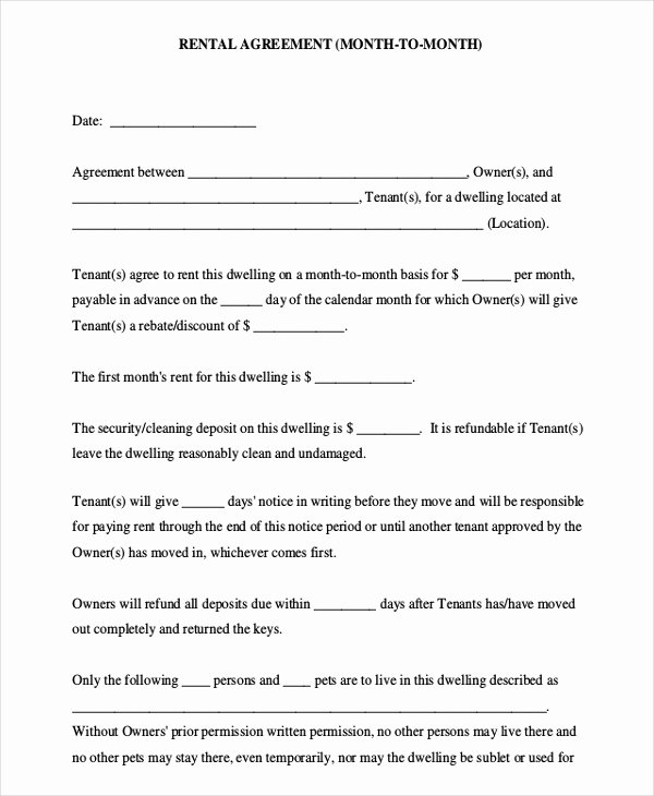 Month Rental Agreement Template Unique Month to Month Rental Agreement Template – 8 Free Word