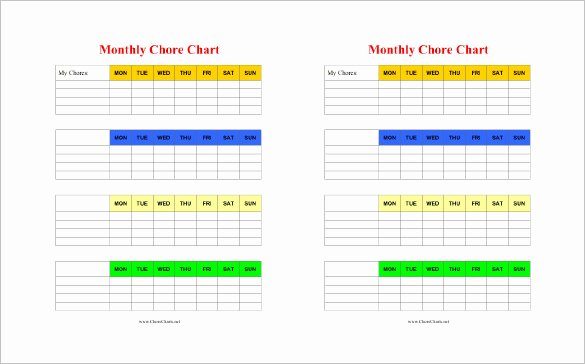 Monthly Chore Chart Template Awesome 11 Chore Chart Template Free Sample Example format