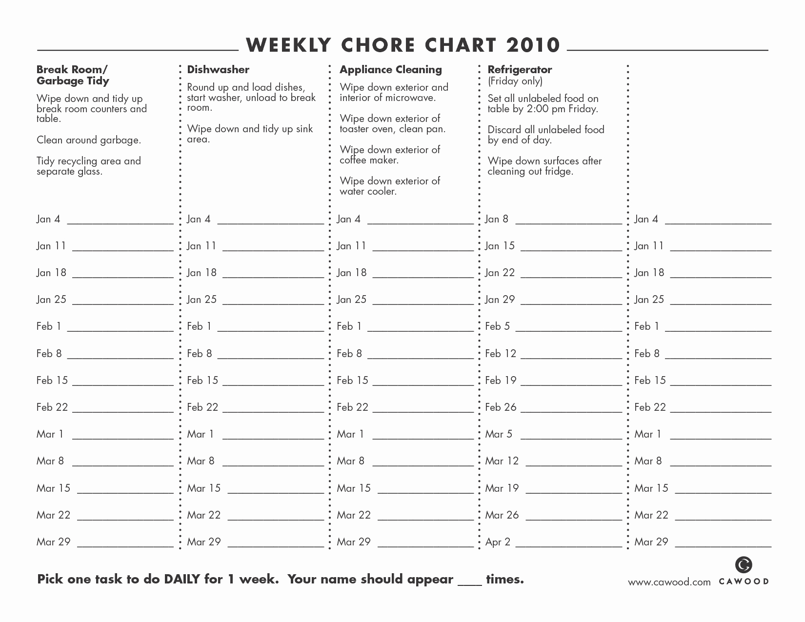 Monthly Chore Chart Template Awesome 9 Best Of Printable Weekly Chore Chart Weekly