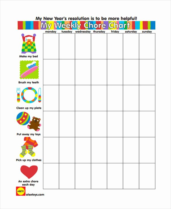 Monthly Chore Chart Template Elegant 9 Chore Chart Templates In Pdf