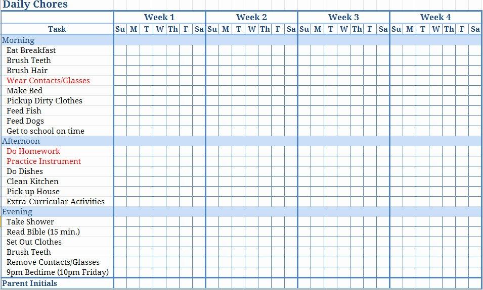 Monthly Chore Chart Template Fresh Jill Samter March 2013
