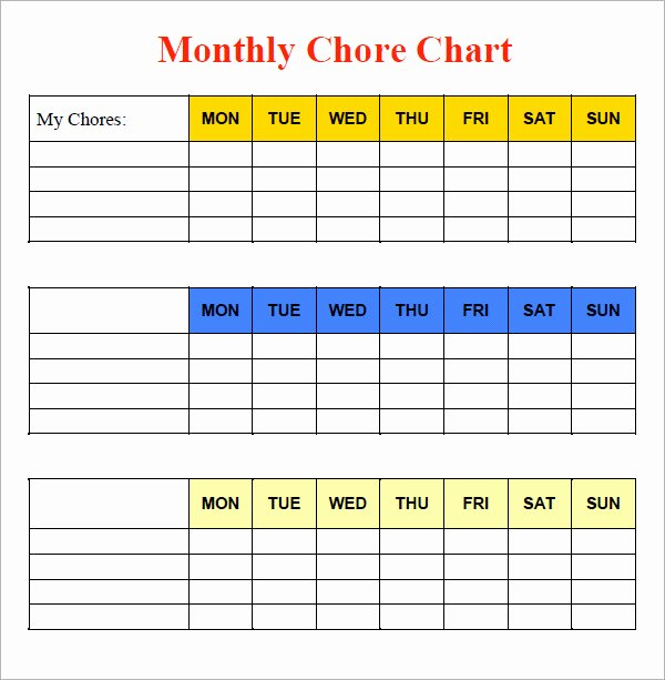 Monthly Chore Chart Template Lovely 10 Sample Chore Chart Templates