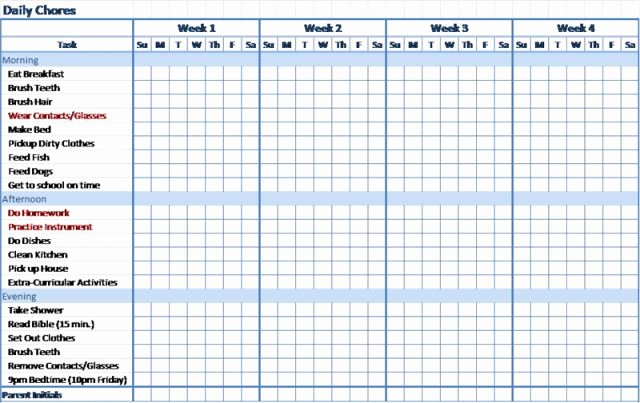 Monthly Chore Chart Template Lovely Daily Chores for Teenagers Daily Chores