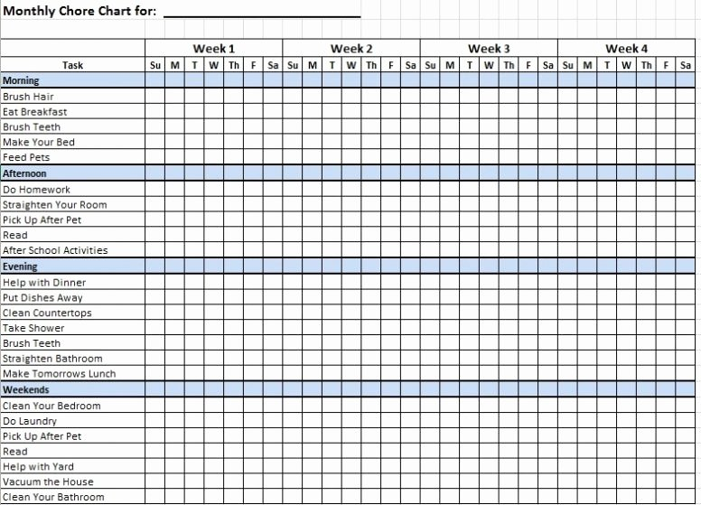 Monthly Chore Chart Template Lovely Free Printable Daily Weekly Monthly Chore Chart Template