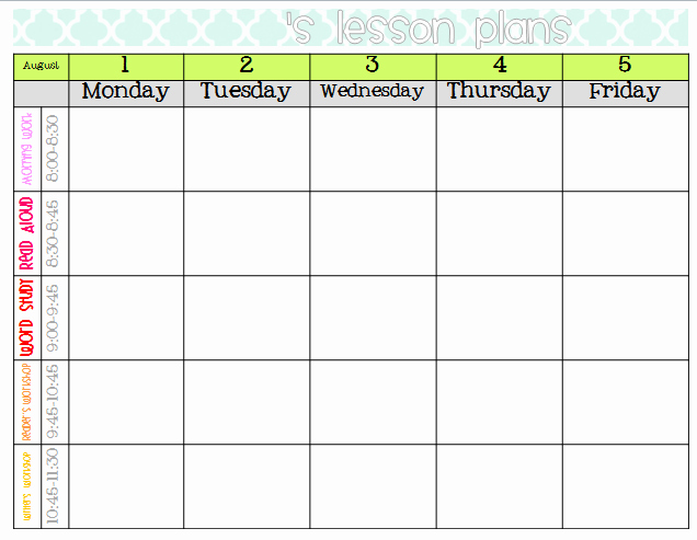 Monthly Lesson Plan Template Awesome Elementary organization Two Updated Lesson Plan Templates
