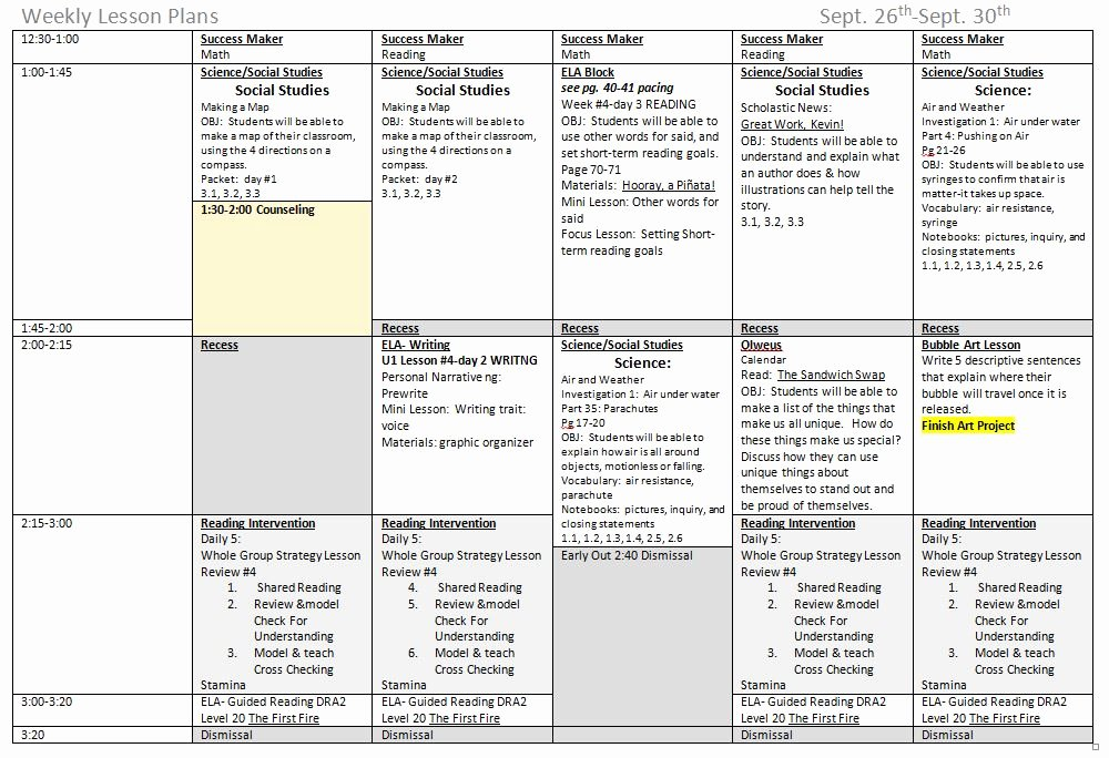 Monthly Lesson Plan Template Lovely 5 Ponents to A Great Weekly Lesson Plan