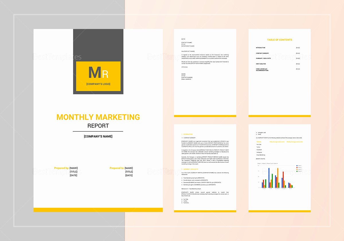 Monthly Marketing Report Template Unique Monthly Marketing Report Template In Word Google Docs