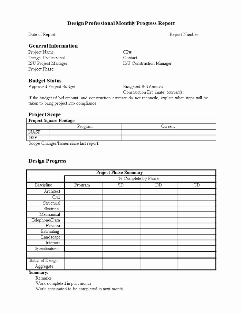Monthly Progress Report Template Beautiful Construction Project Progress Report Template Spreadsheet